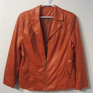 TanJay Zip Front Blazer Jacket Sz12 Rust Color